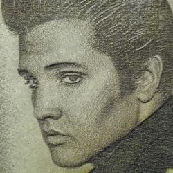 Immagine Elvis riportata su legno tramite macchina laser