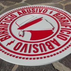 Logo Birrificio Abusivo realizzato al cnc aerografato 65 per 65